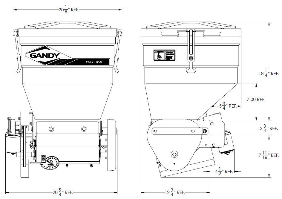 100 Lb , Capacity Talc Applicator with 12-Volt Motor | Gandy